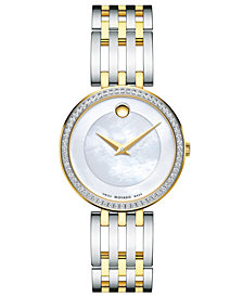 Movado Women's Swiss Esperanza Diamond (1/4 ct. t.w.) Two-Tone PVD Stainless Steel Bracelet Watch 28mm