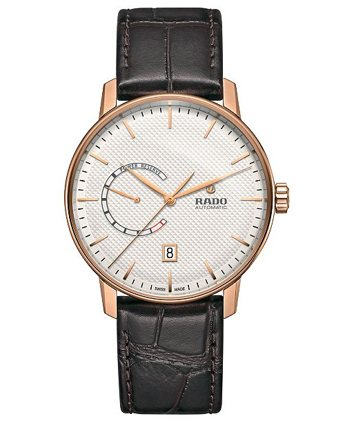 Rado Men's Swiss Automatic Coupole Classic Brown Leather Strap Watch 41mm