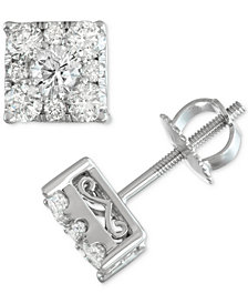 Diamond Square Cluster Screwback Stud Earrings (1 ct. t.w.) in 14k White Gold