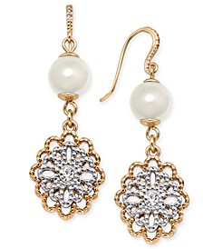 Two-Tone Crystal Filigree & Imitation Pearl Drop Earrings, Created for Macy's