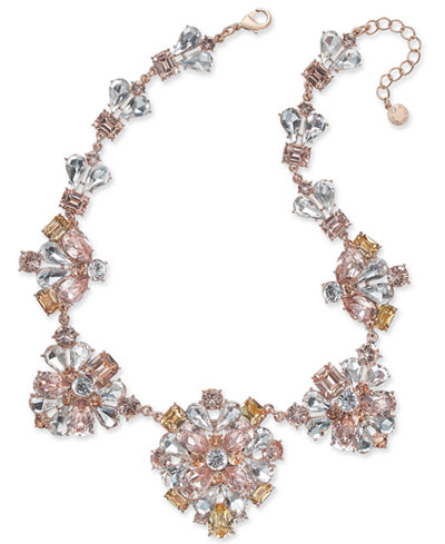 Charter Club Gold-Tone Clear & Pink Crystal Statement Necklace, Created for Macy's