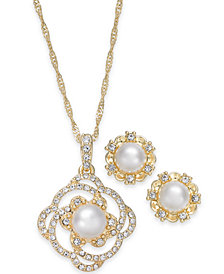 Charter Club Gold-Tone Pavé & Imitation Pearl Pendant Necklace and Stud Earrings Set, Created for Macy's