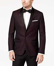 Ryan Seacrest Distinction™ Men's Slim-Fit Burgundy Birdseye Dinner Jacket, Created for Macy's