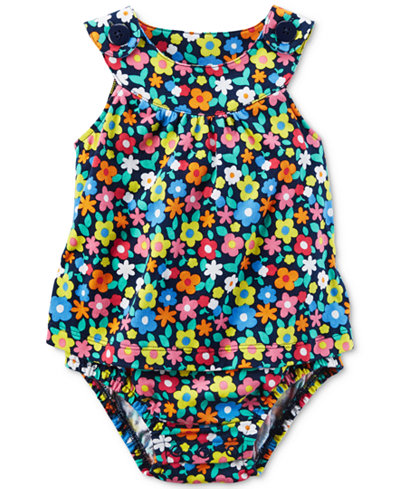 Carter's Floral-Print Cotton Skirted Romper, Baby Girls