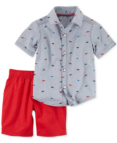 Carter's 2-Pc. Cotton Dinosaur-Print Shirt & Canvas Shorts Set, Baby Boys
