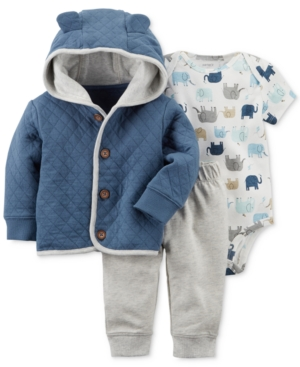 Carters 3Pc Quilted Hoodie Printed Bodysuit  Pants Set Baby Boys (024 months)