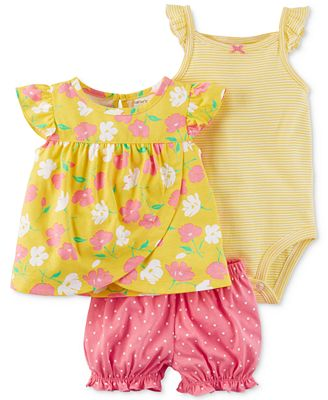 Carter's 3-Pc. Floral-Print Top, Striped Bodysuit & Diaper Cover Set, Baby Girls