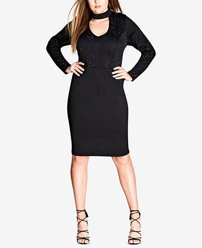 City Chic Trendy Plus Size Studded Choker Dress