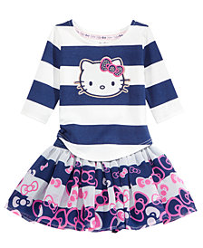 Hello Kitty 2-Pc. Striped Top & Bow-Print Striped Skirt Set, Baby Girls