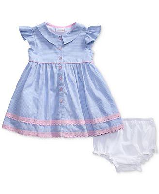 Sweet Heart Rose Striped Lace-Trim Dress, Baby Girls