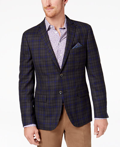 Tallia Men's Slim-Fit Charcoal/Purple Windowpane Plaid Sport Coat