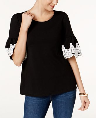 Charter Club Bell-Sleeve Crochet-Detail Top, Created for Macy's