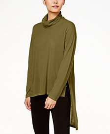 Eileen Fisher Wool Cowl-Neck Sweater