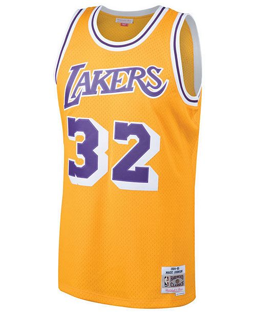 ... Mitchell   Ness Men s Magic Johnson Los Angeles Lakers Hardwood Classic  Swingman Jersey ... 34c1294cc