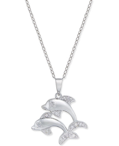 Diamond Dolphin Pendant Necklace (1/10 ct. t.w.) in Sterling Silver