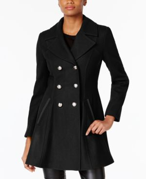LAUNDRY BY SHELLI SEGAL Double-Breasted Military Fit & Flare Coat in Black