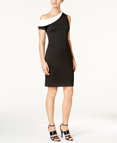 Calvin Klein Colorblocked One-Shoulder Dress, Regular & Petite