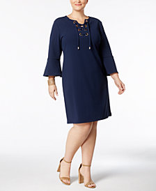 Charter Club Plus Size Lace-Up Knit Dress, Created for Macy's