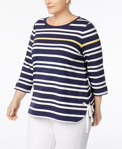 Charter Club Plus Size Laced-Hem Striped Top, Created for Macy's