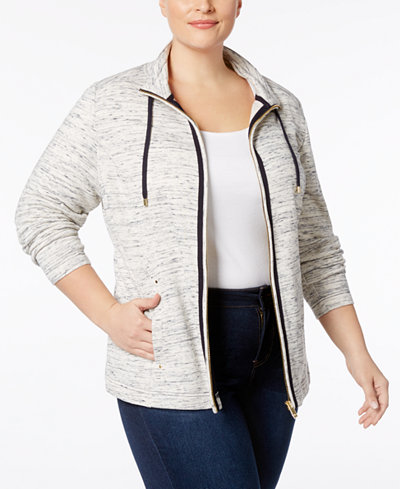 Charter Club Plus Size Heathered-Knit Jacket, Created for Macy's