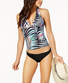 Bar III Tie-Dyed Palm-Print Macramé-Back Tankini Top & Cheeky Bikini Bottoms, Created for Macy's