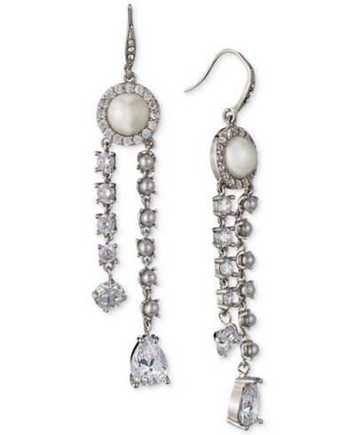 Carolee Silver-Tone Crystal & Imitation Pearl Linear Drop Earrings