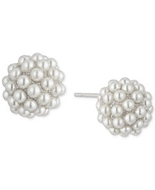 Carolee White-Tone Pavé & Imitation Pearl Stud Earrings