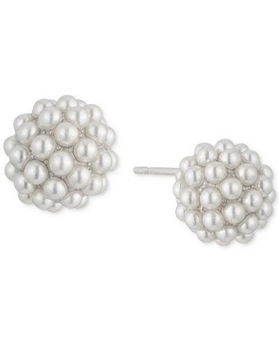 Carolee White-Tone Pavé & Imitation Pearl Stud Earrings