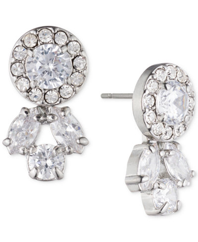 Carolee Silver-Tone Crystal Front-Back Earrings
