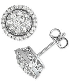 Diamond Cluster Halo Stud Earrings (1 ct. t.w.) in 14k White Gold