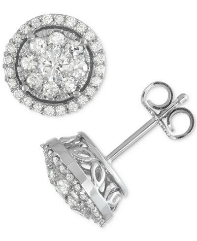 Diamond Cluster Halo Stud Earrings (1 ct. t.w.) in 14k White Gold