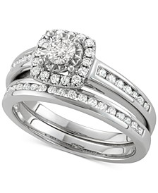 Diamond Halo Channel-Set Bridal Set (3/4 ct. t.w.) in 14k White Gold