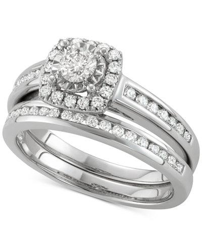 Diamond Halo Channel-Set Bridal Set (3/4 ct. t.w.) in 14k White Gold