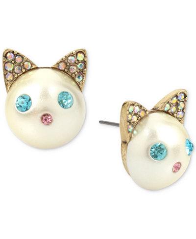 Betsey Johnson Gold-Tone Colored Pavé & Imitation Pearl Cat Stud Earrings