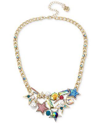 Betsey Johnson Gold-Tone Multi-Stone & Imitation Pearl Star Statement Necklace