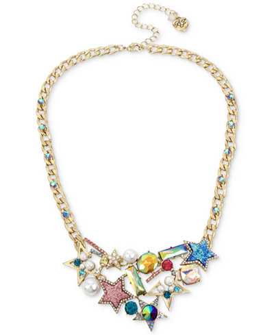 Betsey Johnson Gold-Tone Multi-Stone & Imitation Pearl Star Statement Necklace