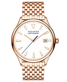 Movado Women's Swiss Heritage Series Calendoplan Rose Gold-Tone Stainless Steel Bracelet Watch 36mm