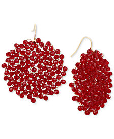 Kenneth Cole New York Gold-Tone Red Bead Woven Drop Earrings