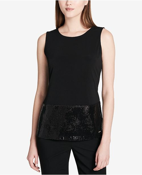 Calvin Klein Sequined-Hem Shell