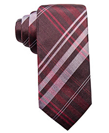 Ryan Seacrest Distinction™ Men's Turn Plaid Slim Silk Tie, Created for Macy's