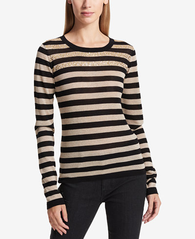 DKNY Sequined Striped Sweater - Sweaters - Women - Macy's