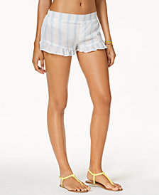 Miken Juniors'  Striped Ruffled Cover-Up Shorts, Created for Macy's