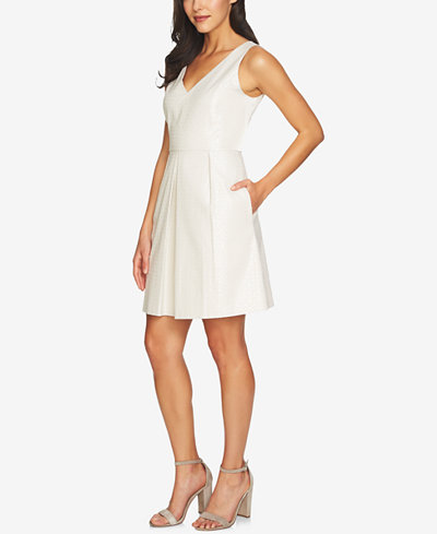CeCe Metallic Jacquard Fit & Flare Dress