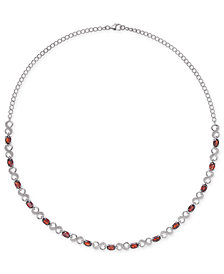 "Rhodolite Garnet (7-1/2 ct. t.w.) & Diamond Accent Infinity Collar 16"" Necklace in Sterling Silver"