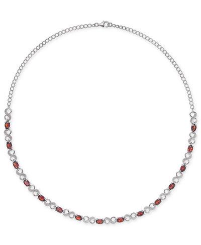Rhodolite Garnet (7-1/2 ct. t.w.) & Diamond Accent Infinity Collar 16