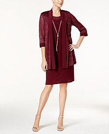R & M Richards Necklace Dress & Metallic-Trim Jacket