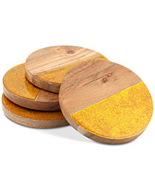 Thirstystone Enamel & Wood Coasters, Set of 4
