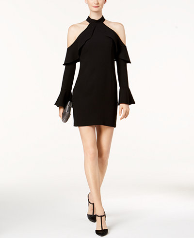 Bardot Cold-Shoulder Ruffle Dress