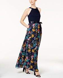 SL Fashions Halter-Neck Floral-Print Maxi Dress