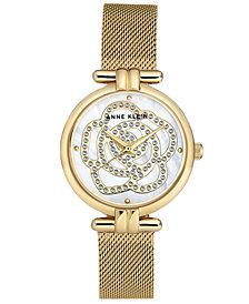 Anne Klein Women's Gold-Tone Stainless Steel Mesh Bracelet Watch 33mm